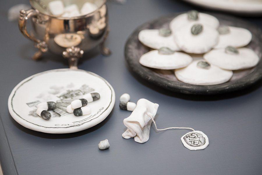 Hotham Street Ladies, Dark Tea, 2015, found objects, royal icing, buttercream, fondant.